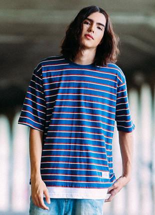 Fluke Stripe overfit layered Short Sleeves T-shirt FOT017C508
