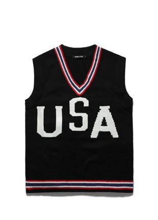 Forbee Tobee USA overfit Knit Vest TOB17ZNT501BK
